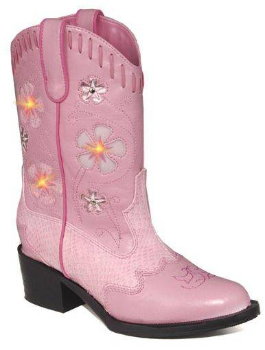 Roper Faux Leather Western Lights Boot - Girls, Pink