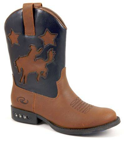 Roper Faux Leather Bronco Western Lights Boots - Kids, Tan/Brown