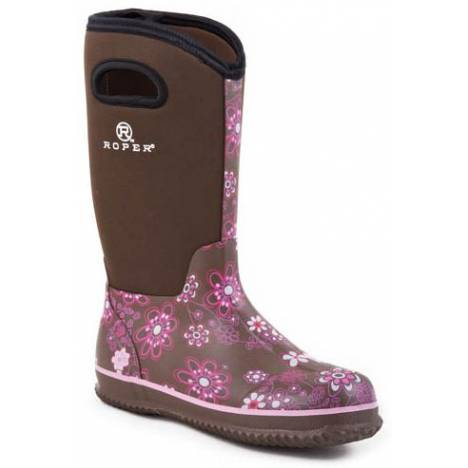 Roper Neoprene Barn Boots - Ladies, Brown Floral