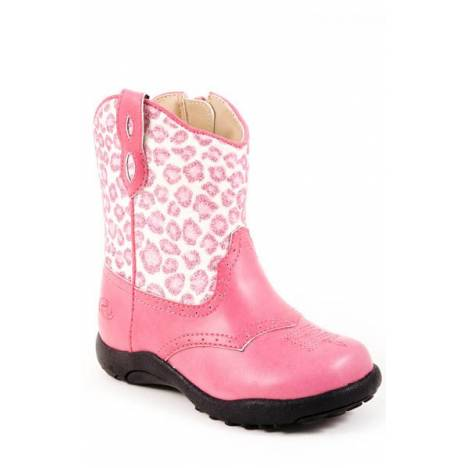 Roper Faux Leather Glitter Shaft Chunk Boots - Infants, Pink