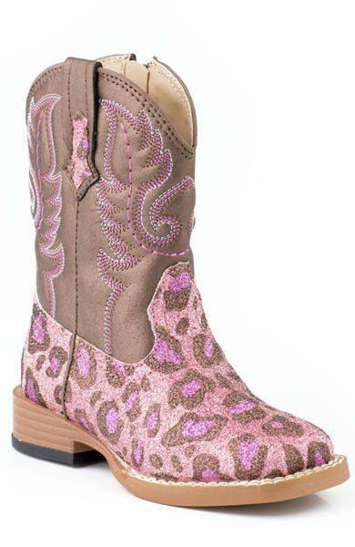 Roper Faux Leather Glitter Leoprd Print Boots - Toddler, Pink