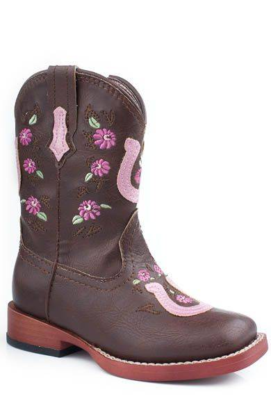 Roper Faux Leather Horseshoe Overlay Boots - Toddler, Brown