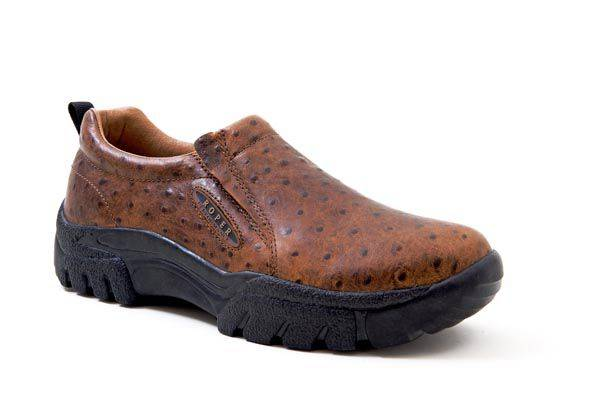 Roper Leather Faux Ostrich Print Slip On Shoes - Mens, Tan