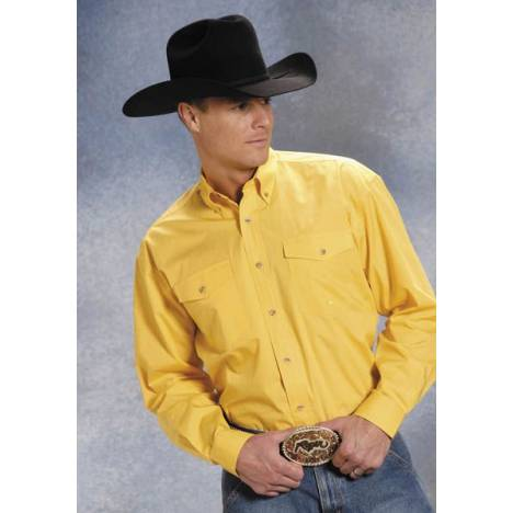 Roper Poplin Button Down - Mens , Long Sleeve, Yellow