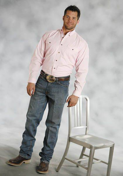 Roper Poplin Button Down - Mens , Long Sleeve, Pink