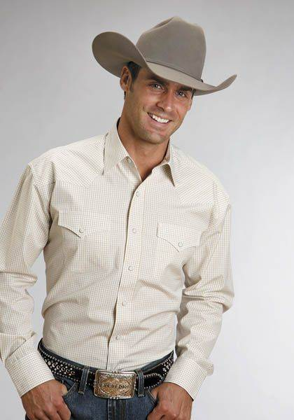 Stetson Cotton Shirt - Mens, Long Sleeve, Gold Check