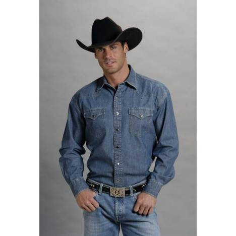 Stetson Denim Shirt - Mens Tall, Denim Blue