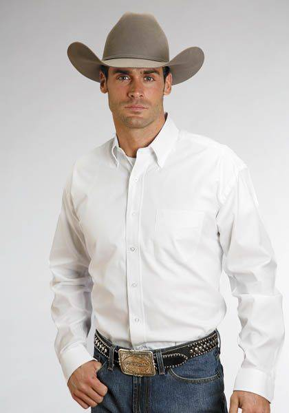 Stetson Cotton Button Down - Mens, Long Sleeve, White