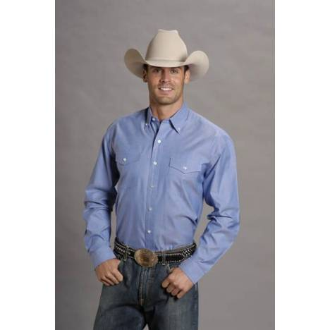 Stetson Pinpoint Oxford Shirt - Mens, Long Sleeve, Blue