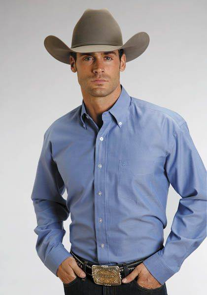 Stetson Pinpoint Oxford Button Down - Mens, Blue