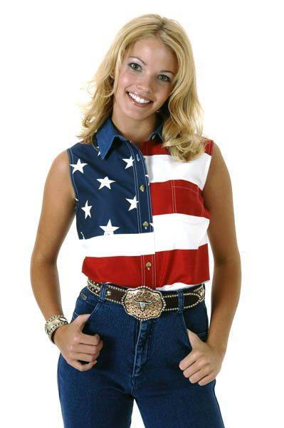 Roper USA Flag Shirt - Ladies, Sleeveless