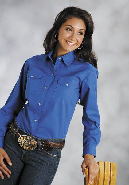 Roper Poplin Shirt - Ladies, Long Sleeve, Royal