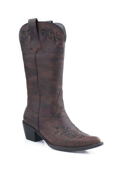 Roper Alexa Faux Leather Embroidered Western Boot - Ladies, Brown
