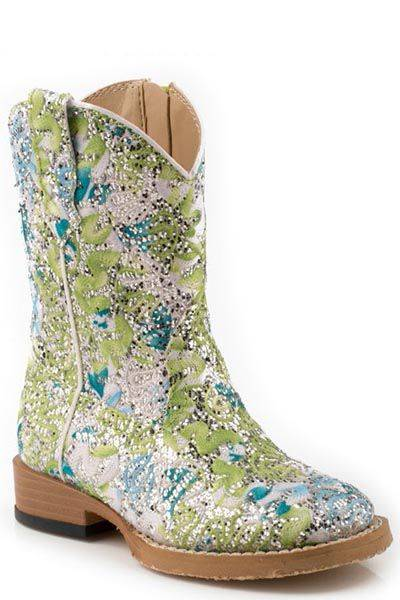 Roper Glitter Swirl Western Boot - Infant, Blue Green Glitter