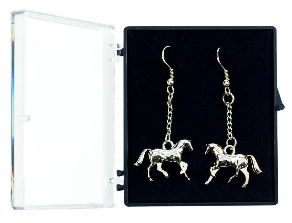 Cantering Horse Earrings in Silver