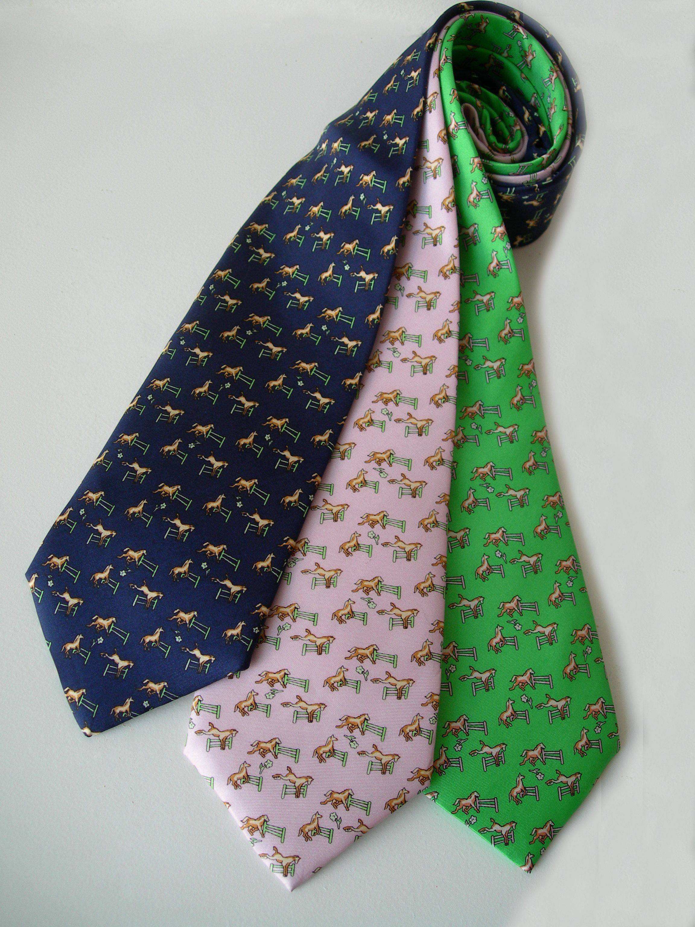 LILO Up N Over Horses Over Fences Equestrian Silk Neck Tie