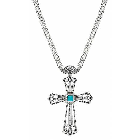 Rock 47 Fleur de Lis Stone Cross Necklace