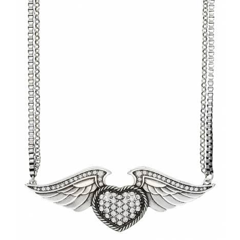 Rock 47 Tattoo Art Rhinestone Heart on Wings Necklace