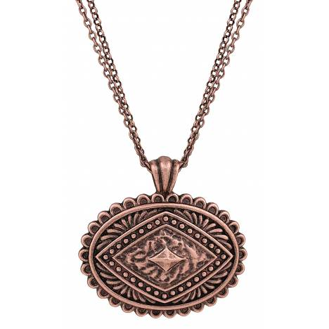 Rock 47 Points of Aztec Copper-tone Pyramid View Necklace