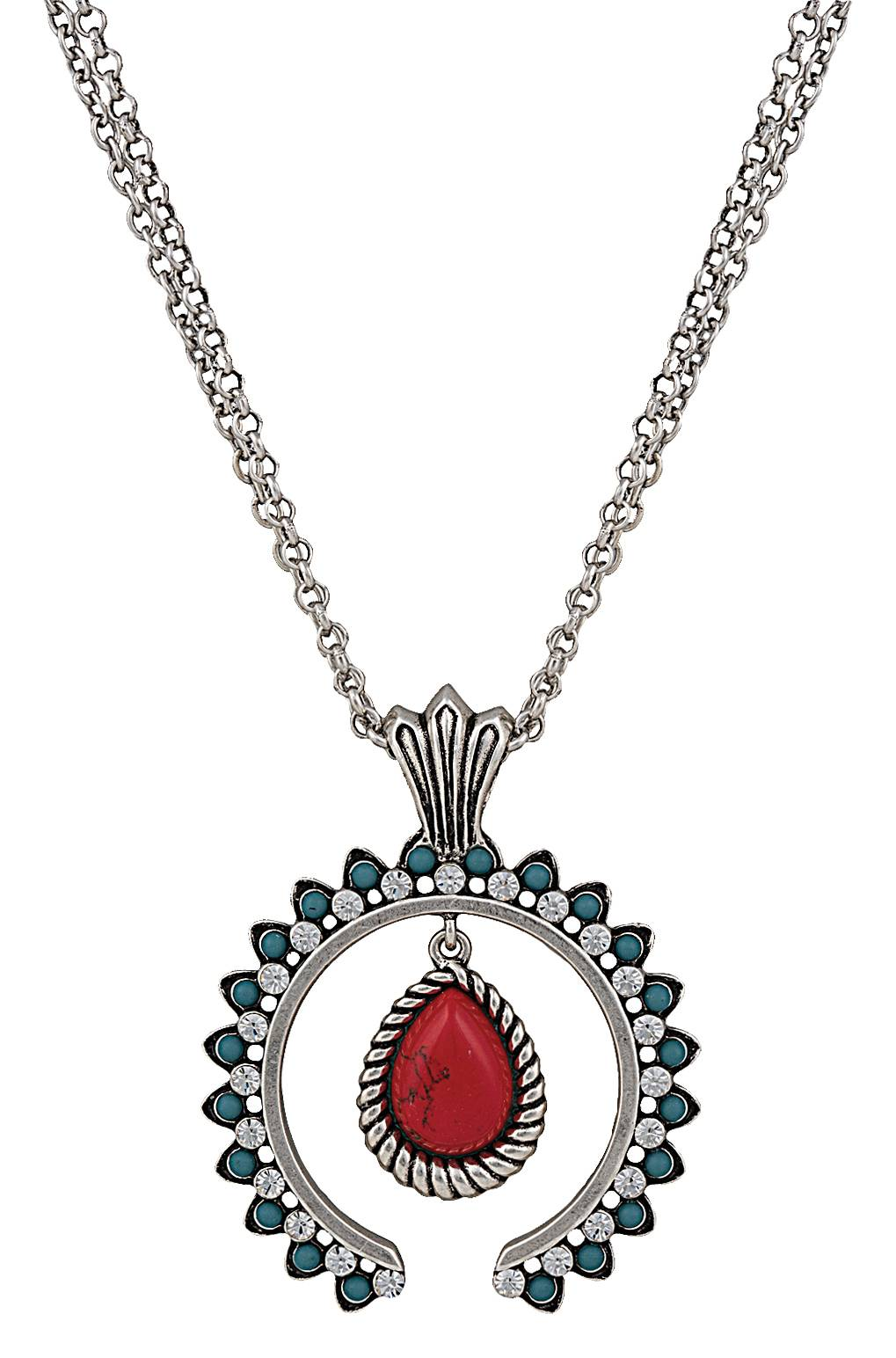 Rock 47 Tribal Flair Red and Turquoise Squash Blossom Necklace