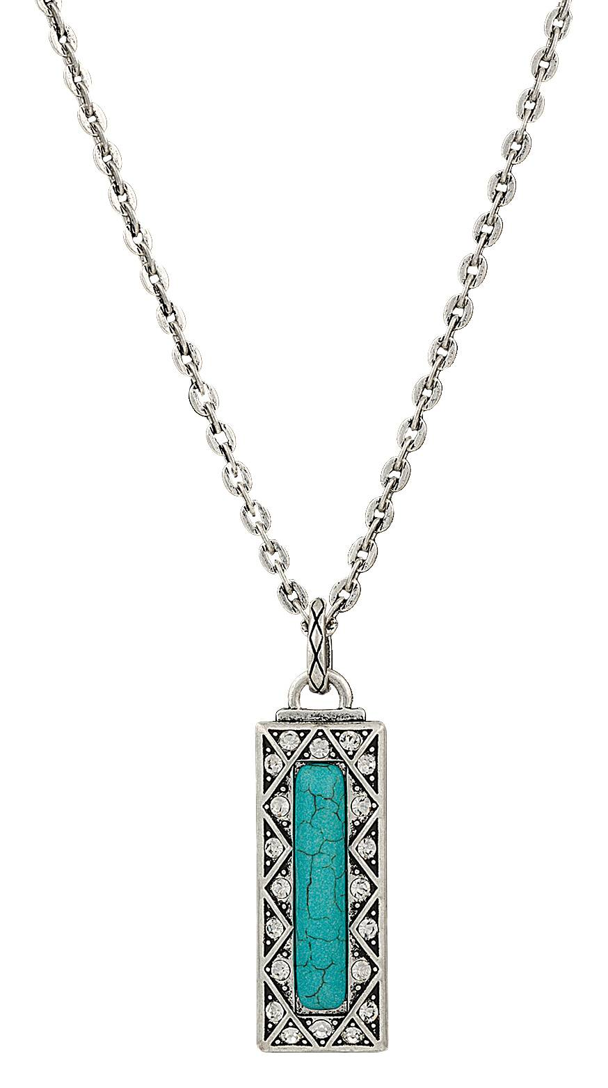 Rock 47 Vintage Kitsch Rectangular Turquoise Pendant Necklace