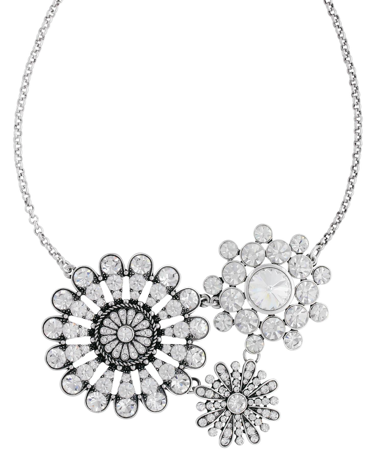 Rock 47 Vintage Kitsch Diamante Flowers Necklace