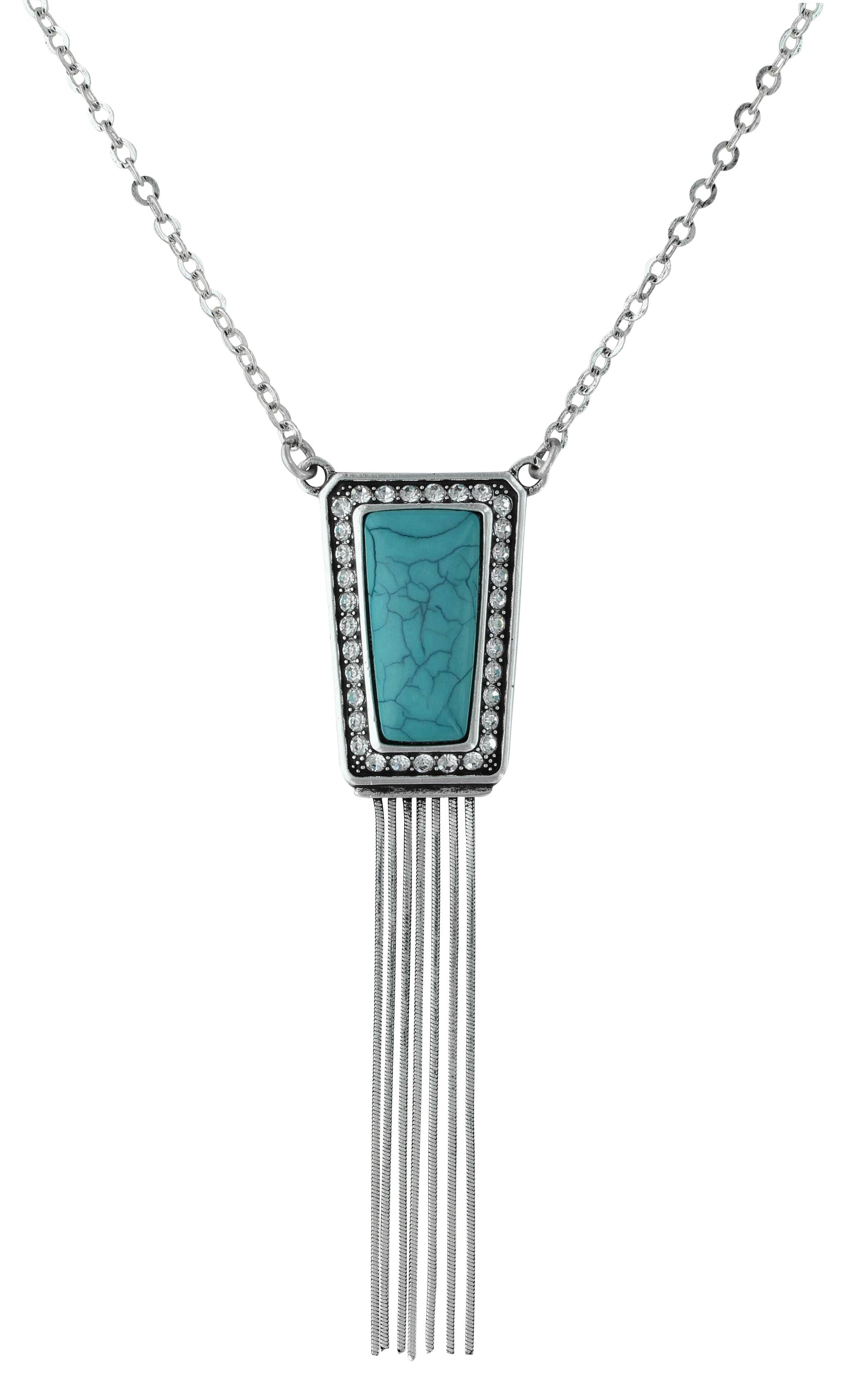 Rock 47 By Wrangler Retro Flair Rectangle Stadium Pendant And Fringe Necklace