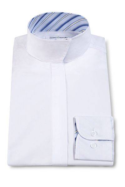RJ Classics Essential Short Sleeve Show Shirt - Ladies, White/Blue