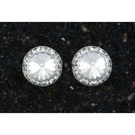 Finishing Touch Crystal Rivoli Stone In Crystal Frame Earrings