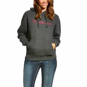 Ariat Dat Hoodie II - Ladies - Charcoal Gray/Pink