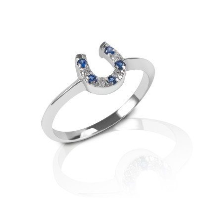 Kelly Herd Blue & Clear Horseshoe Ring - Sterling Silver