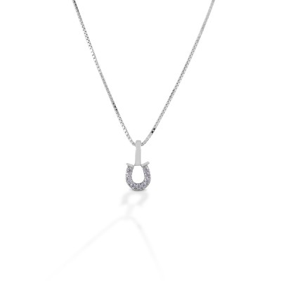 Kelly Herd Clear Horseshoe Necklace - Sterling Silver