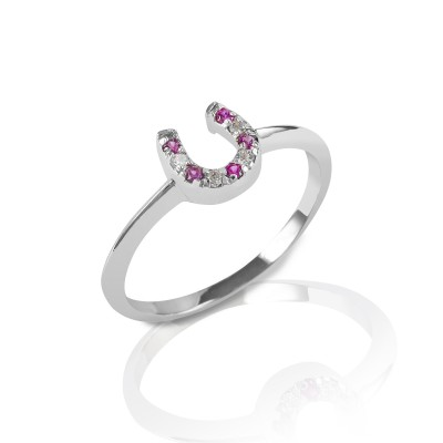 Kelly Herd Red & Clear Horseshoe Ring - Sterling Silver