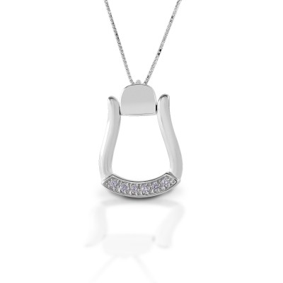 Kelly Herd Large Stone Base Oxbow Stirrup Necklace - Sterling Silver
