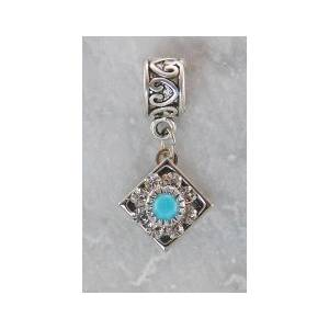 Joppa Crystal Stone Flower On Diamond Shape Dangle Bead