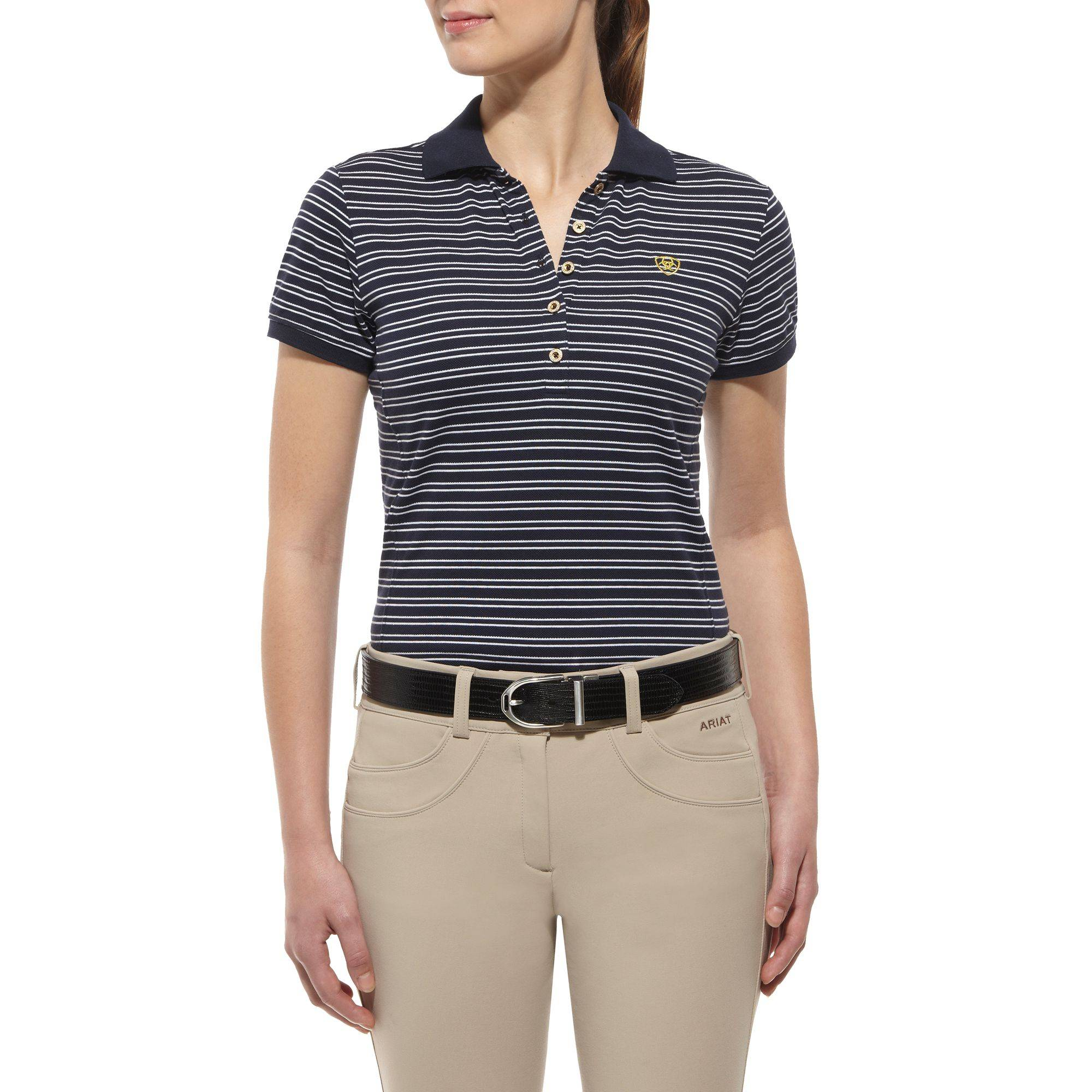 6d2c27e9 Ariat Prix Polo Shirt Ladies Navy Stripe