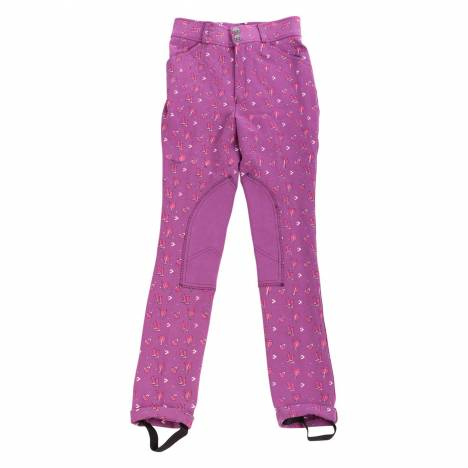 Daisy Clipper Purple Patterned Riding Pant - Kids, Knee Patch