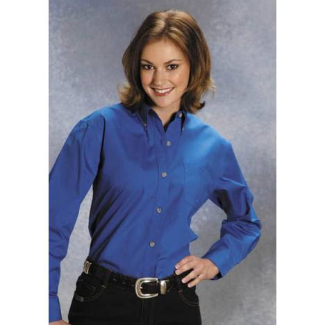 Roper Button Down Collar Western Shirt - Ladies, Royal Blue