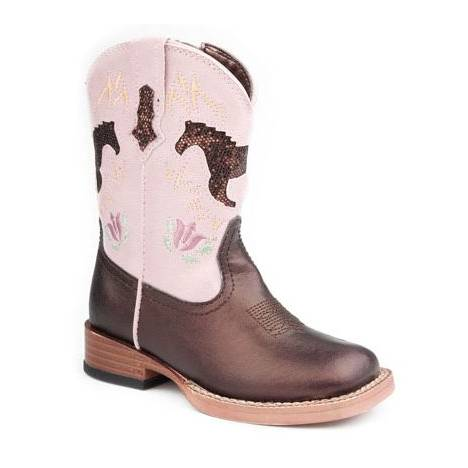 Roper Faux Leather Square Toe Glitter Horse Boots - Infant, Brown/Pink