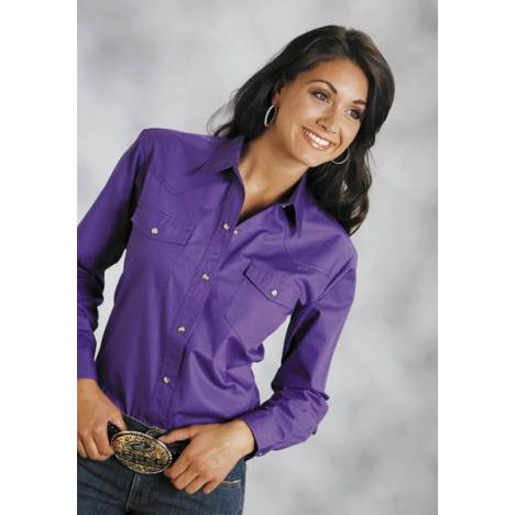 Roper Poplin Shirt - Ladies, Long Sleeve, Purple