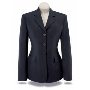 RJ Classics Girls Essential Washable Show Coat - Navy Herringbone