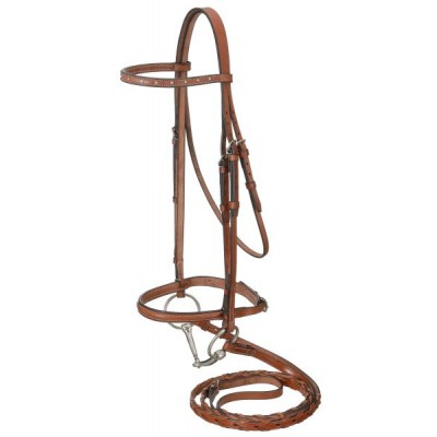 Raised Snaffle English Bridle With Spaced Stone Crystals