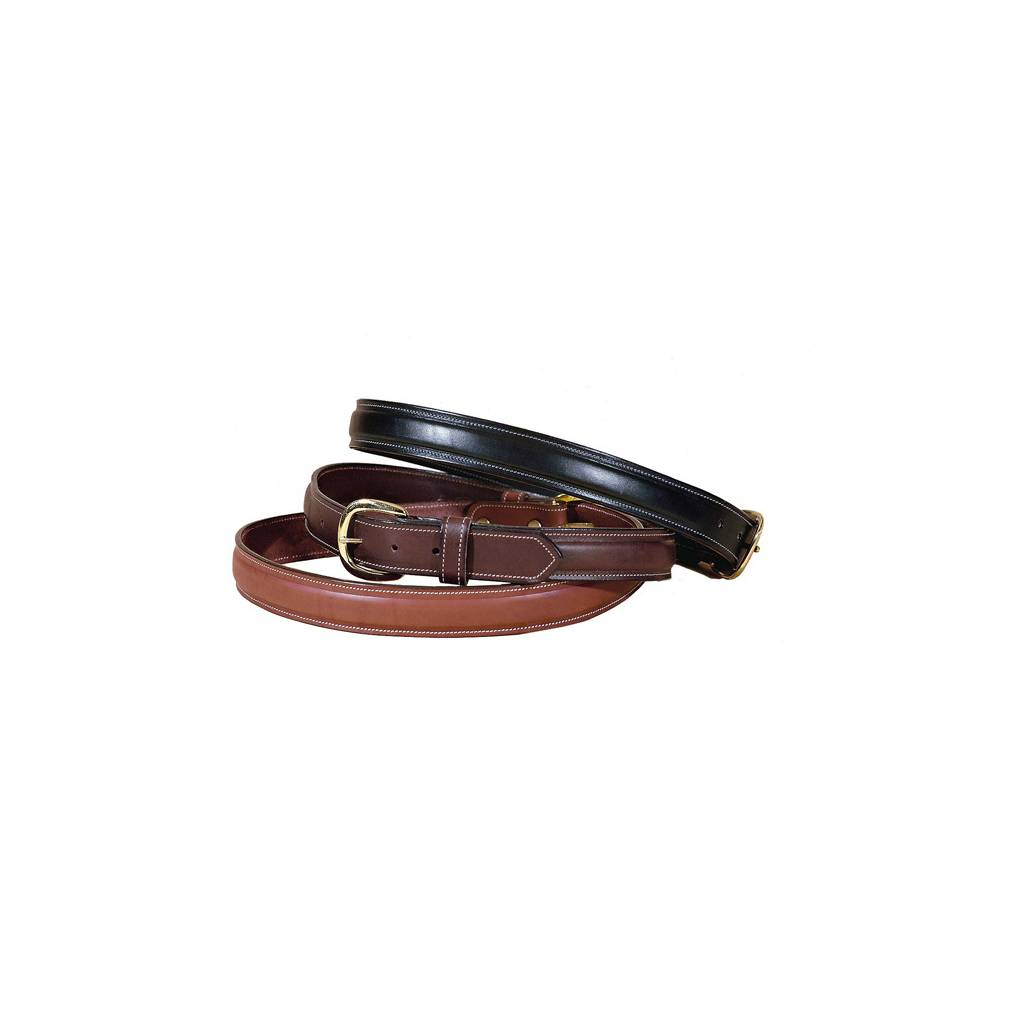 "TORY LEATHER 1 1/4"" Raised Leather Belt with Solid Brass Buckle"