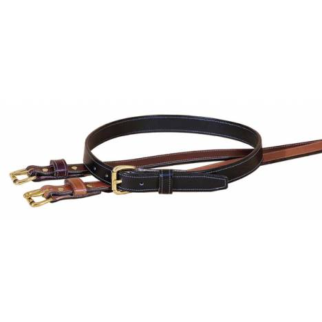 "TORY LEATHER 1"" Stitched Belt with Brass Buckle"