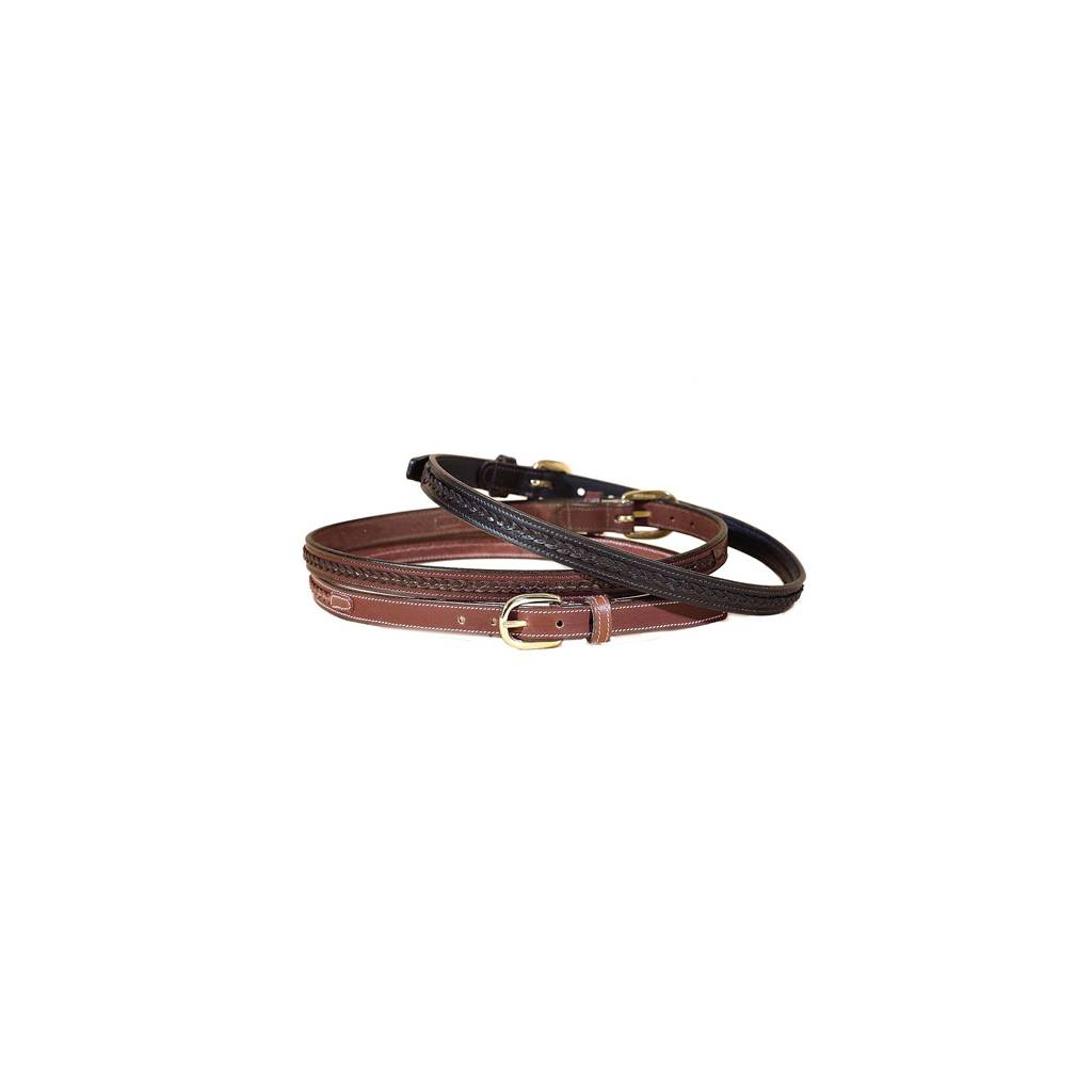 """TORY LEATHER 3/4"""" Belt with Raised Center Braid & Brass Buckle"""