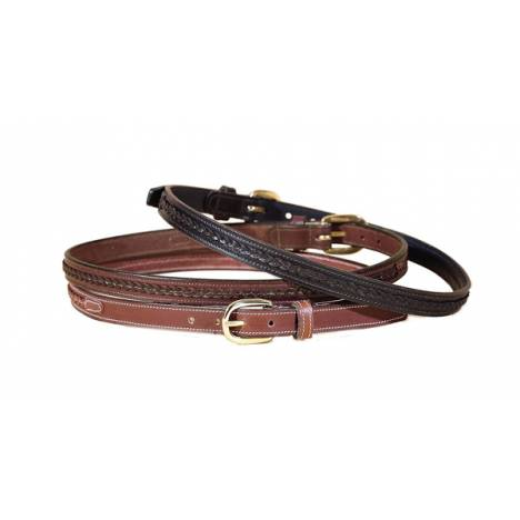 TORY LEATHER 3/4'' Belt with Raised Center Braid & Brass Buckle
