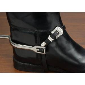 EquiRoyal Silver Buckle Leather Spur Straps