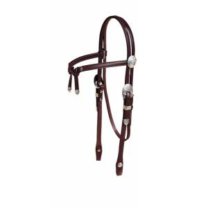 Tory Leather Brow Knot Headstall with  Oklahoma Style Silver Trim