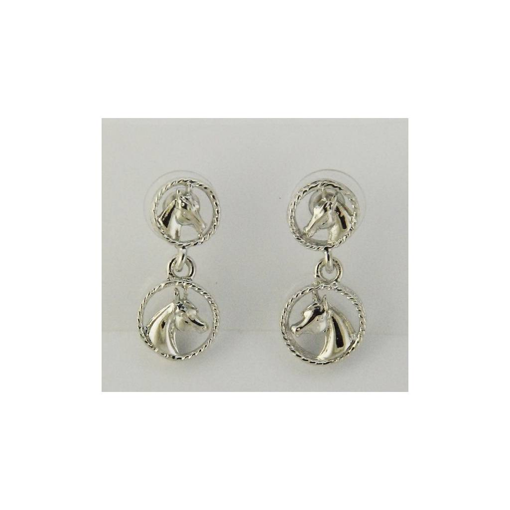 Finishing Touch Horse Heads In Circles Earrings