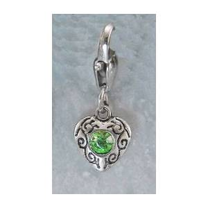 Barbary Silver Heart with  Peridot Stone Charm
